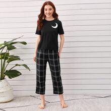 T-Shirt mit Mond Muster & Hose mit Karo Muster Schlafanzug Set
