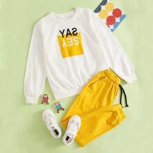 Pullover mit Buchstaben Grafik & Jogginghose mit schraegen Taschen
