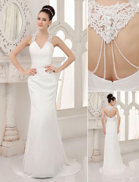 Milanoo Ivory V-Neck Backless Sequied Satin Pearl Mermaid Wedding Reception Dress