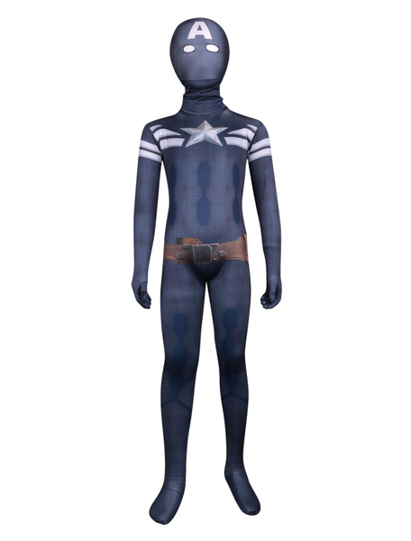Milanoo Halloween Unisex Multi Color Captain America Lycra Kids'Full Body Zentai Suits Halloween