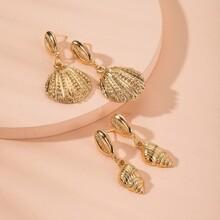 2 Paare Ohrringe mit Schale Dekor