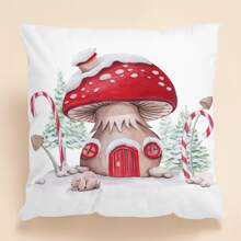 Christmas Mushroom Print Cushion Cover Without Filler