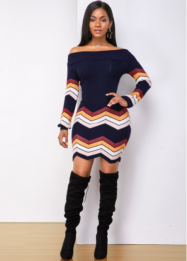 Cocktail Party Dress Chevron Pattern Off the Shoulder Sweater Dress - M