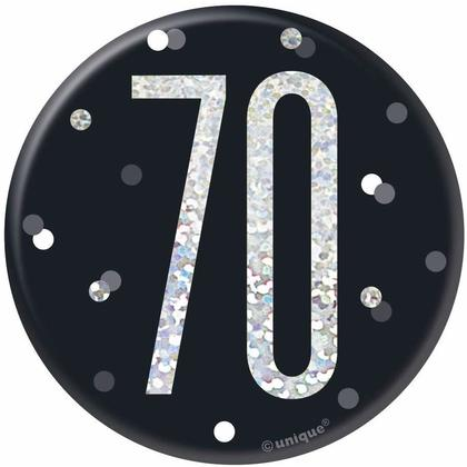 Birthday Glitz Black & Silver Birthday Badge, 1ct - Age 70
