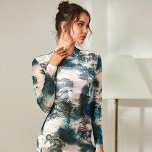 Mock Neck Landscape &  Chinese Dragon Graphic Mesh Bodycon Dress