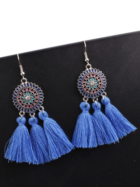 Milanoo Earrings Yellow Fringe Metal Round Brilliant Pierced Women Jewelry