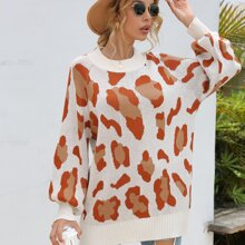 Allover Print Raglan Sleeve Sweater