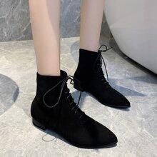 Schwarz Einfarbig Laessig Stiefel