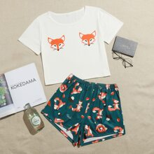 Conjunto de pijama con estampado de zorro y seta