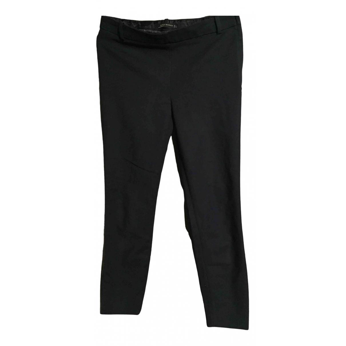 Zara \N Blue Cotton Trousers for Women 36 FR