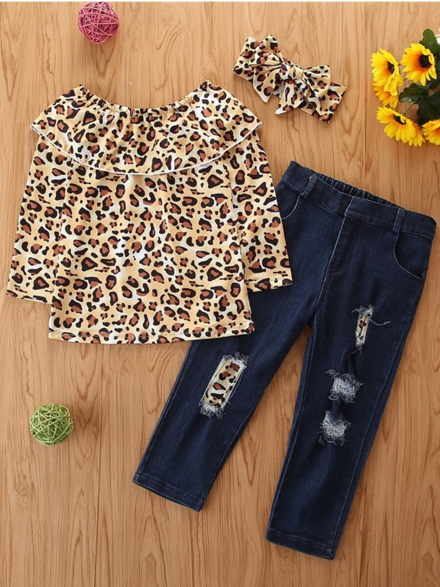 LW Lovely Stylish O Neck Leopard Print Broken Holes Girl Two-piece Pants Set