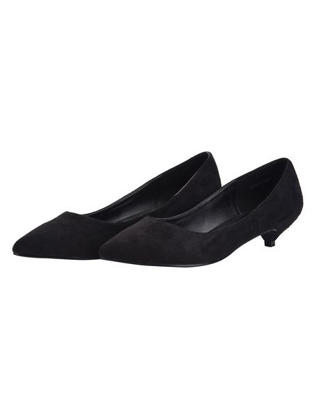 Milanoo Kitten Heel Pumps Suede Pointed Toe Slip On Pumps Women Dress Shoes