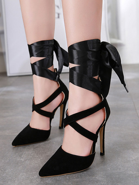 Milanoo Suede High Heels Black Pointed Toe Lace Up Pumps Women Sexy Heeled Shoes