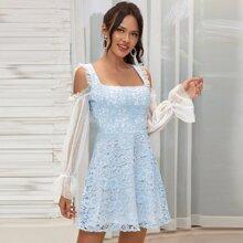 Double Crazy vestido con encaje de manga de malla