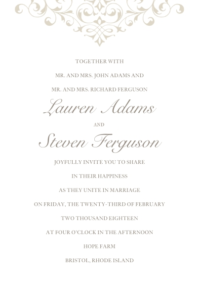 Wedding Invitations 5x7 Cards, Premium Cardstock 120lb with Elegant Corners, Card & Stationery -Wedding Flourish - Invitation