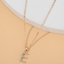 Halskette mit Buchstaben Dekor und Strass