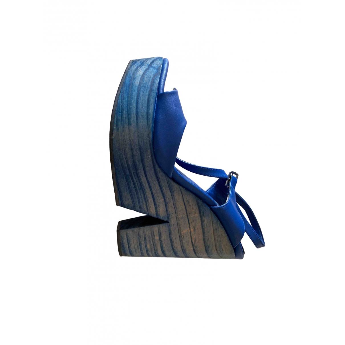 Zara \N Blue Patent leather Sandals for Women 37.5 EU