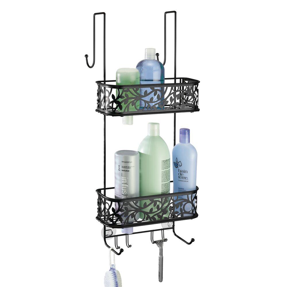 Over Door Hanging Bathroom Tub/Shower Caddy Storage, Decorative Vine Design in Matte Black, 8.4 x 10.6 x 24.9, by mDesign