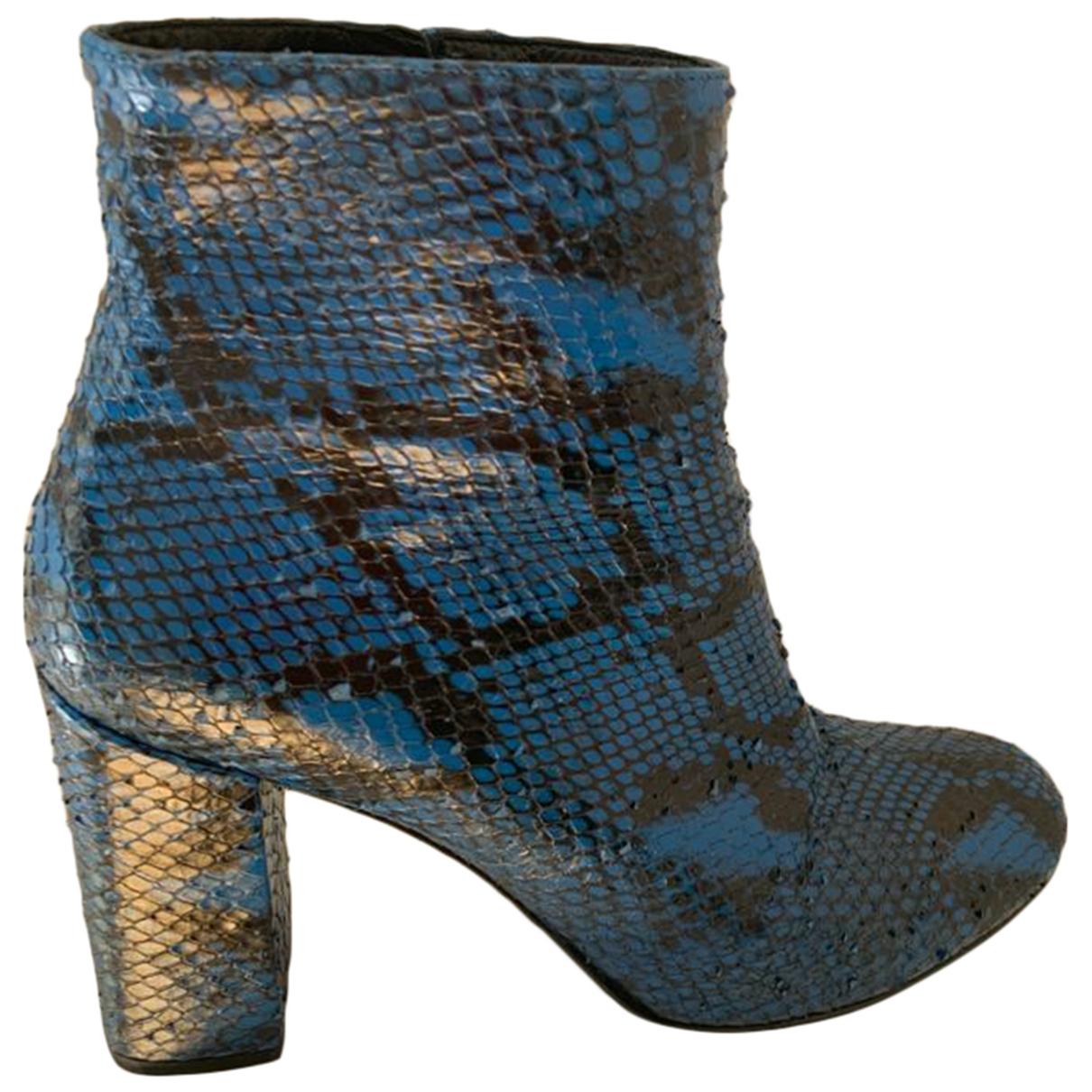 Saint Laurent \N Stiefeletten in  Blau Wasserschlangen