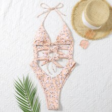 Ditsy Floral Cut-out Knot One Piece Swimsuit