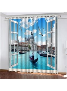 3D Fantastic Venice View Print Blackout and Decorative Curtains for Living Room Bedroom