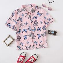 Bluse mit ueberallem Schmetterling Muster und Taschen Flicken