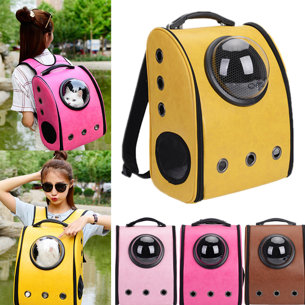 Pet Astronaut Capsule Backpack Portable Outdoor Pet Bag Breathable Cat Dog Backpack