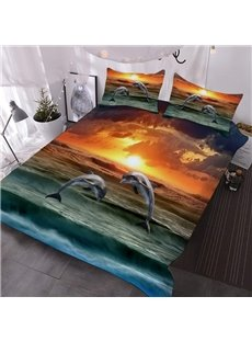 Two Dolphins Jumping Out of The Sea 3D Printed 3-Piece Polyester Comforter Sets