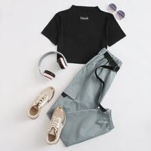 T-Shirt mit Buchstaben Grafik und Cargo Hose Set mit Taschen Klappen
