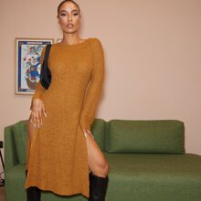 Raglan Sleeve High Split Side Sweater Dress