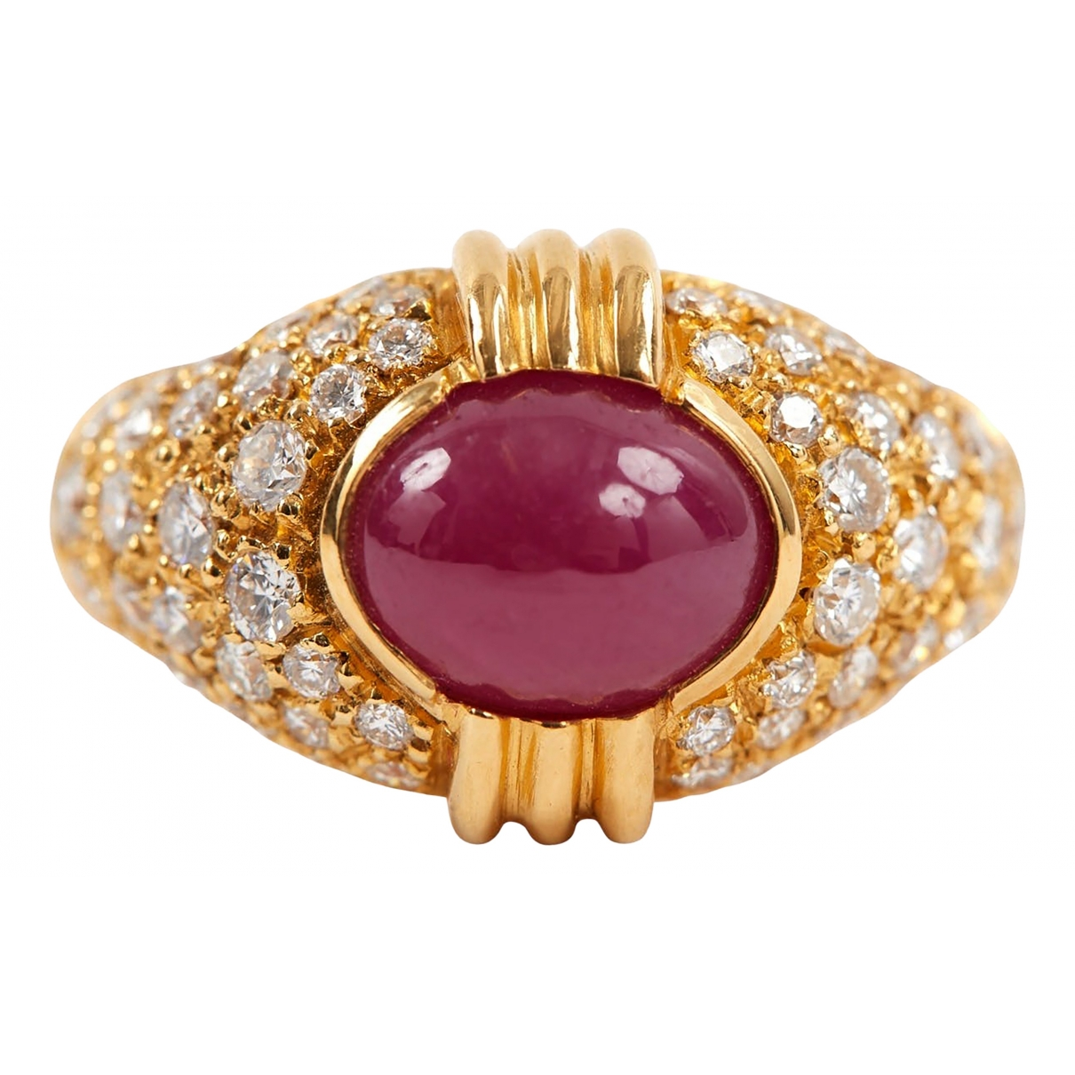 - Bague   pour femme en or jaune - rouge