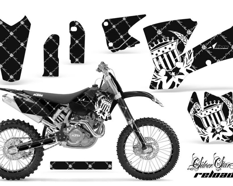 AMR Racing Graphics MX-NP-KTM-C1-01-04-SSR W K Kit Decal Wrap + # Plates For KTM  SX SXS EXC MXC 2001-2004áRELOADED WHITE BLACK