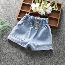 Toddler Girls Slant Pocket Solid Denim Shorts