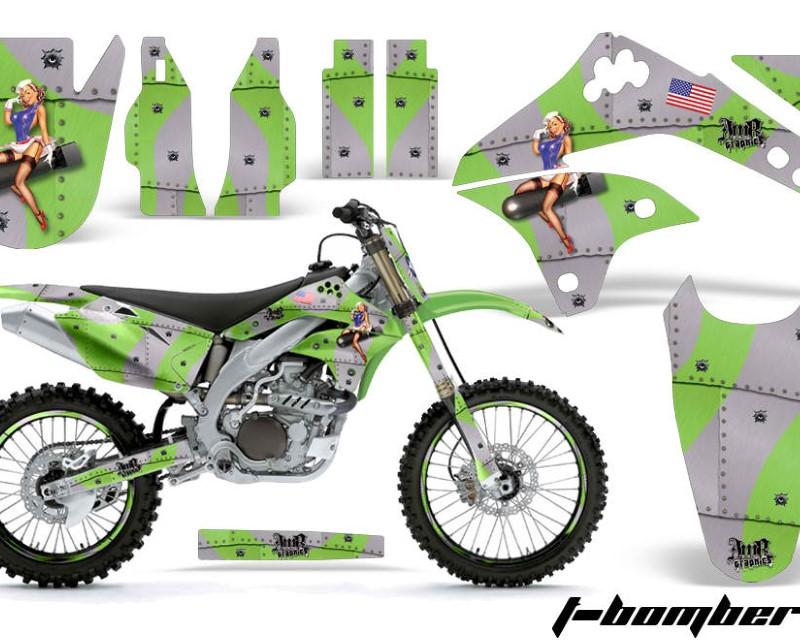 AMR Racing Graphics MX-NP-KAW-KX450-06-08-TB G Kit Decal Sticker Wrap + # Plates For Kawasaki KXF450 2006-2008 TBOMBER GREEN