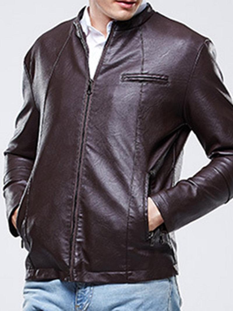 Ericdress Plain Stand Collar Mens Zipper Jacket