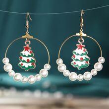 Christmas Faux Pearl Decor Drop Earrings