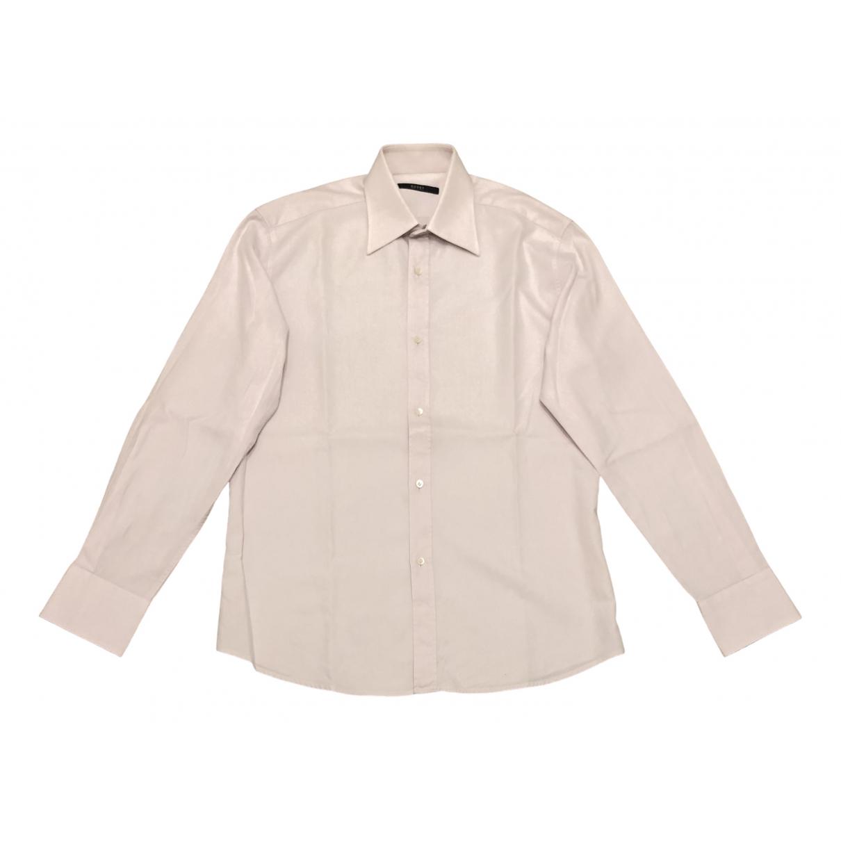 Gucci \N Pink Cotton Shirts for Men 39 EU (tour de cou / collar)