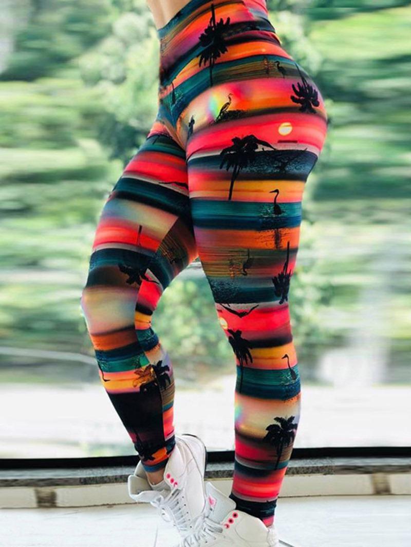 Ericdress Women Sunset Sea Print Fitness High Waist Yoga Leggings