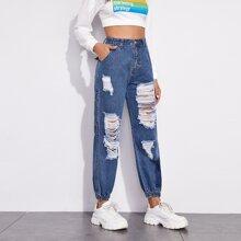 Slant Pocket Ripped Jeans