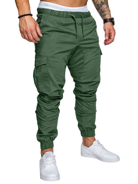 Milanoo Men Cargo Pant Side Pocket Sweatpant Drawstring Tapered Track Pant