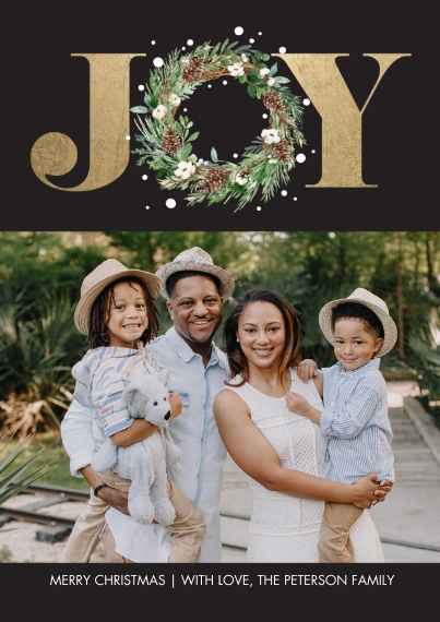 Christmas Photo Cards 5x7 Cards, Premium Cardstock 120lb with Elegant Corners, Card & Stationery -Christmas Joy Wreath Gold by Tumbalina