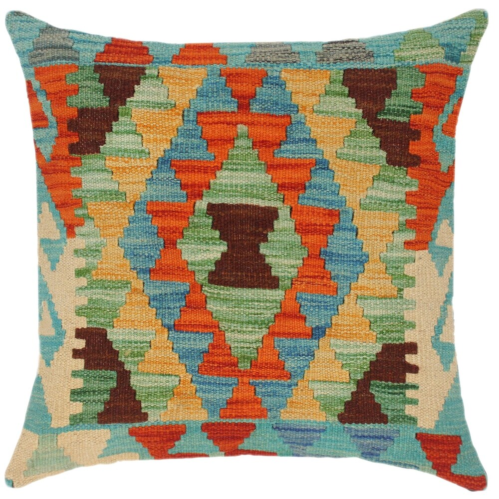 Shabby Chic Cassey Hand-Woven Turkish Kilim Throw Pillow (Polyester - 18 in. x 18 in. - Accent - Rust - Single)