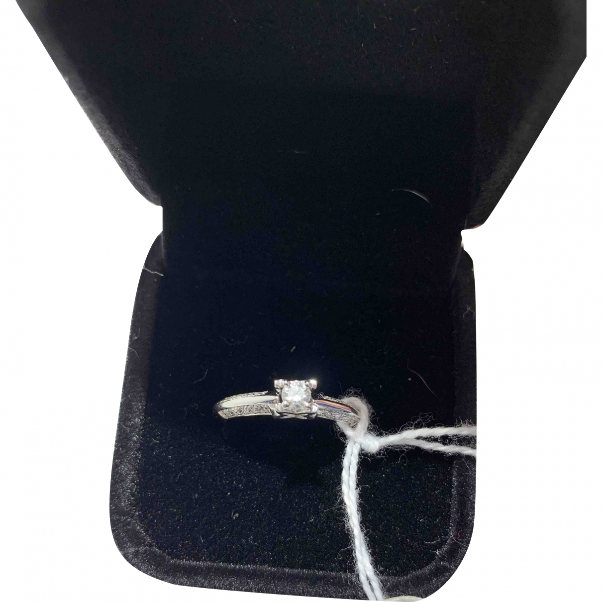 Non Signé / Unsigned Solitaire Silver White gold ring for Women \N
