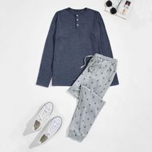Schlafanzug Set mit halber Knopfleiste und Anker Muster