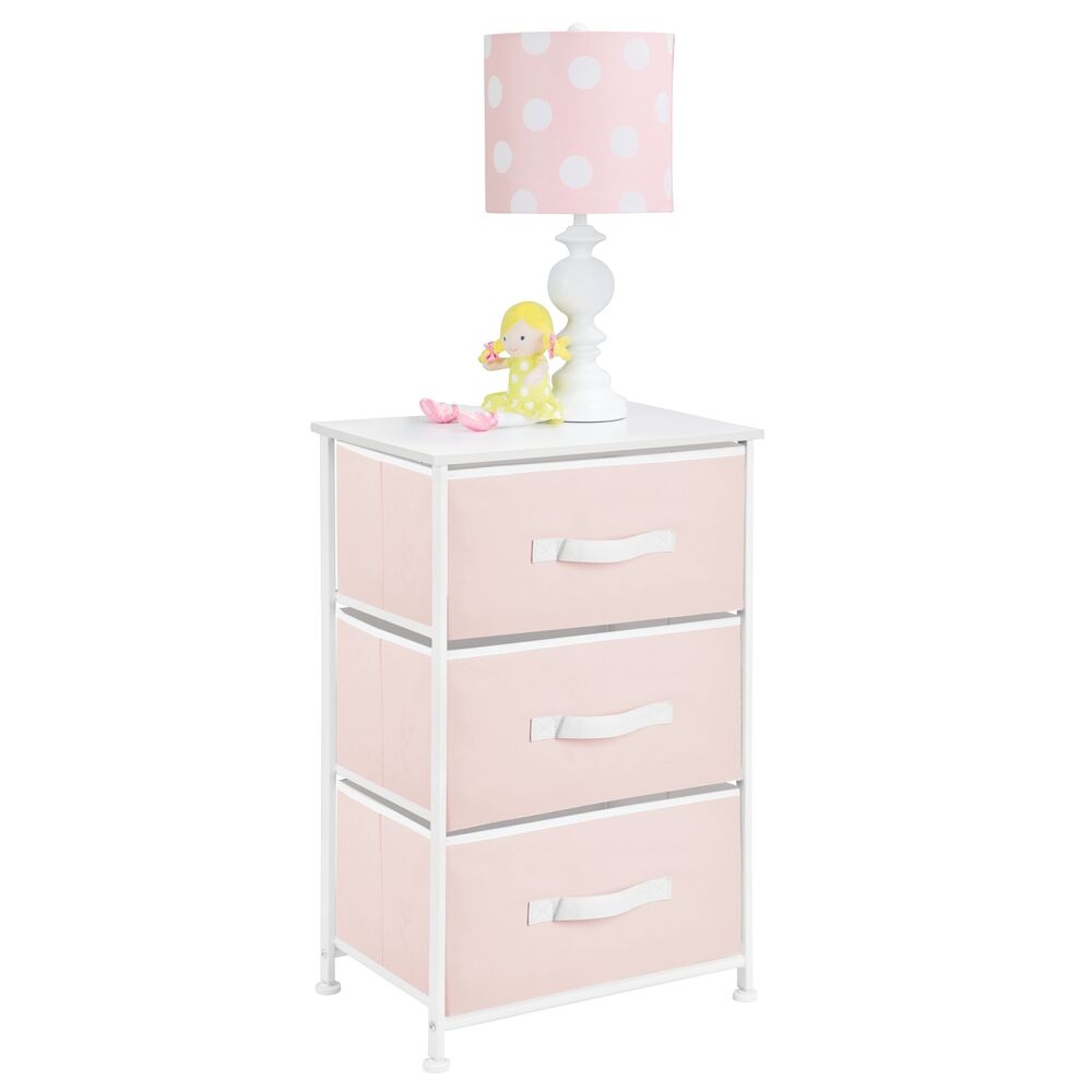 3 Drawer Tall Fabric Dresser Cabinet Storage Organizer for Baby + Kids in Pink, 12