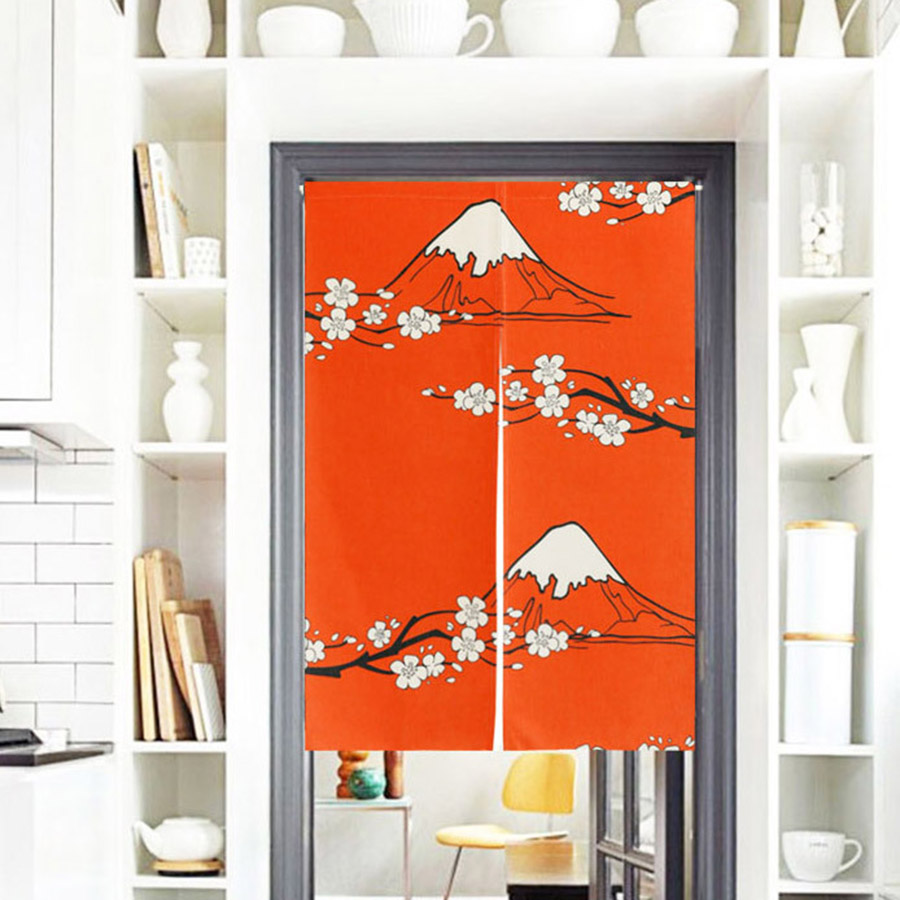 Mount Fuji Printing Red Decorative Hanging Wall Tapestry