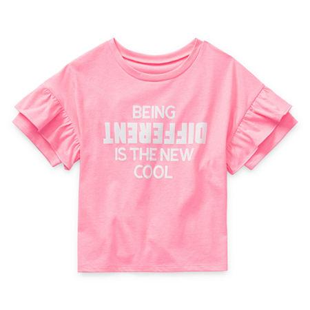 Arizona Little & Big Girls Short Sleeve T-Shirt, Large (14) , Pink