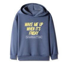 Boys Slogan Graphic Hooded Sweatshirt