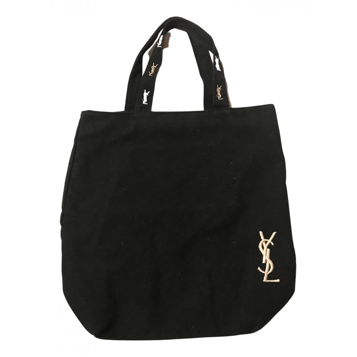 Bolso de mano en Algodon Negro Yves Saint Laurent