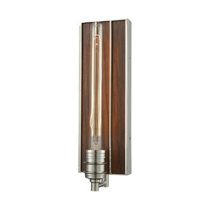 16433/1 Brookweiler 1 Light Wall Sconce in Polished Nickel with Dark Wood